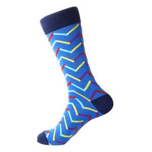 Steven Land Blue Multi Chevron Mixed Colors Pattern Men's Socks