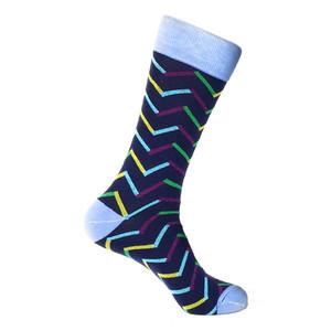 Steven Land Navy Multi Chevron Mixed Colors Pattern Men's Socks