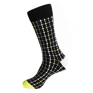 Steven Land Black Multi Plaid Printed Pattern Men's Socks