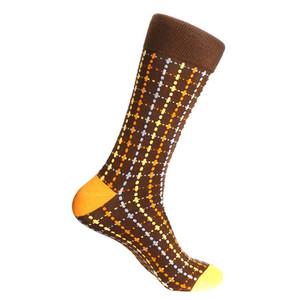 Steven Land Brown Multi Plaid Printed Patter Men's Socks