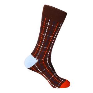Steven Land Burgundy Multi Plaid Printed Patter Men's Socks