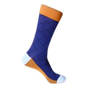 Steven Land Navy Multi Classic Plaid Pattern Men's Socks