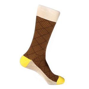 Steven Land Brown Multi Classic Plaid Pattern Men's Socks