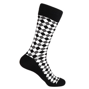 Steven Land Black Multi Diamond Printed Pattern Men's Socks