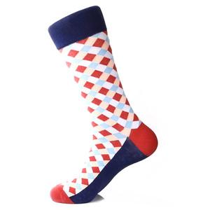 Steven Land Blue Multi Diamond Printed Pattern Men's Socks