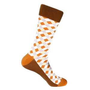 Steven Land Rust Multi Diamond Printed Pattern Men's Socks