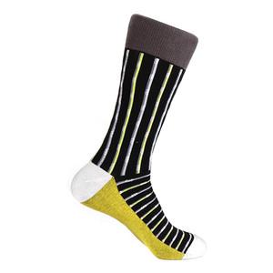 Steven Land Two Tone Stripes Pattern Black Multi Cotton Nylon Spandex Men's Socks