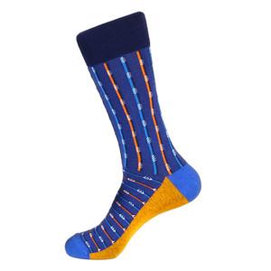 Steven Land Two Tone Stripes Pattern Blue Multi Cotton Nylon Spandex Men's Socks