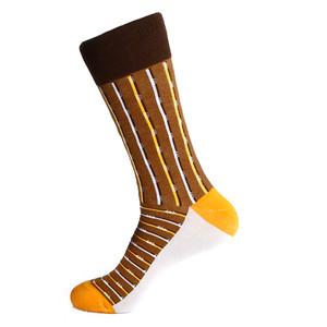 Steven Land Two Tone Stripes Pattern Brown Multi Cotton Nylon Spandex Men's Socks