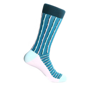 Steven Land Two Tone Stripes Pattern Teal Green Multi Cotton Nylon Spandex Men's Socks