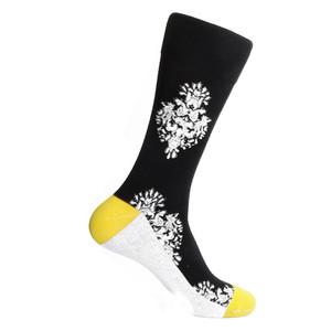 Steven Land Two Ornaments Pattern Black Multi Cotton Nylon Spandex Men's Socks