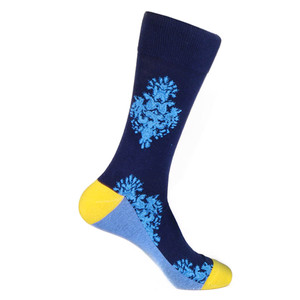 Steven Land Two Ornaments Pattern Blue Multi Cotton Nylon Spandex Men's Socks