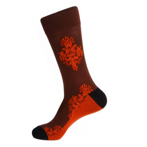 Steven Land Two Ornaments Pattern Burgundy Multi Cotton Nylon Spandex Men's Socks