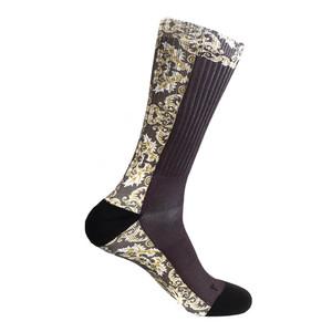 Steven Land Mediterranean Sublimation Pattern Black Multi Cotton Nylon Spandax Men's Socks