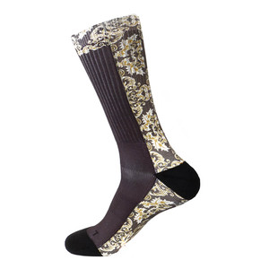 Steven Land Mediterranean Sublimation Pattern Black Multi Cotton Nylon Spandax Men's Socks