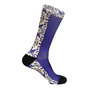 Steven Land Mediterranean Sublimation Pattern Blue Multi Cotton Nylon Spandax Men's Socks