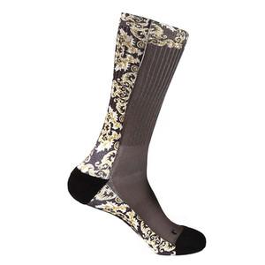 Steven Land Mediterranean Sublimation Pattern Brown Multi Cotton Nylon Spandax Men's Socks