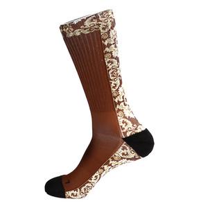 Steven Land Mediterranean Sublimation Pattern Burgundy Multi Cotton Nylon Spandax Men's Socks