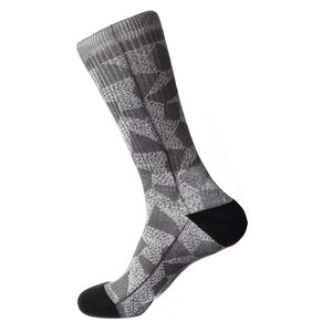 Steven Land Mosaic Pattern Black Multi Cotton Nylon Spandax Men's Socks
