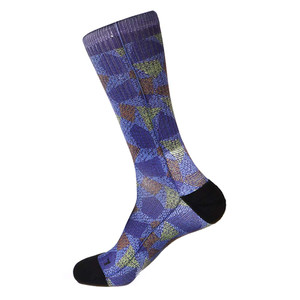 Steven Land Mosaic Pattern Blue Multi Cotton Nylon Spandax Men's Socks
