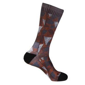 Steven Land Mosaic Pattern Red Multi Cotton Nylon Spandax Men's Socks