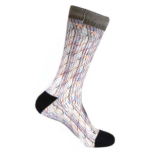 Steven Land Paisley Sublimation Pattern Brown Multi Cotton Nylon Spandax Men's Socks