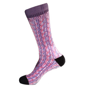 Steven Land Paisley Sublimation Pattern Purple Multi Cotton Nylon Spandax Men's Socks