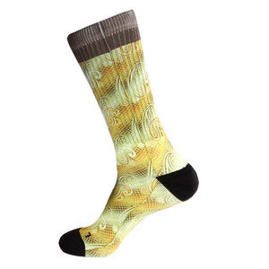 Steven Land Paisley Sublimation Pattern Yellow Multi Cotton Nylon Spandax Men's Socks