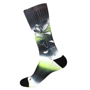 Steven Land Colorful Floral Pattern Black Multi Cotton Nylon Spandax Men's Socks