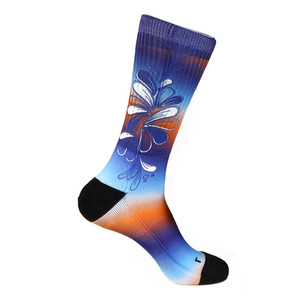 Steven Land Colorful Floral Pattern Blue Multi Cotton Nylon Spandax Men's Socks