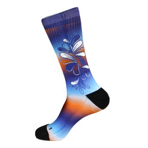 Steven Land Colorful Floral Pattern Blue Multi Cotton Nylon Spandex Men's Socks