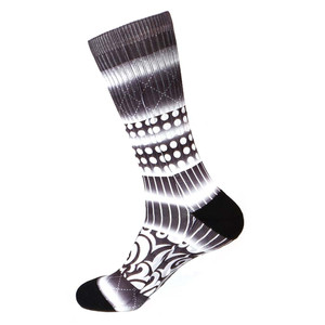 Steven Land Printed Pattern Black Multi Cotton Nylon Spandax Men's Socks