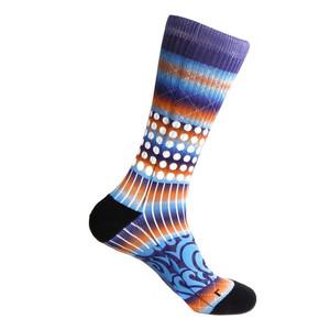 Steven Land Printed Pattern Blue Cotton Nylon Spandax Men's Socks