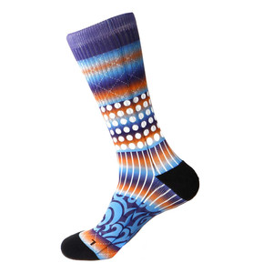 Steven Land Printed Pattern Blue Cotton Nylon Spandax Men's Socks