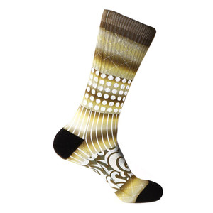 Steven Land Printed Pattern Brown Cotton Nylon Spandax Men's Socks