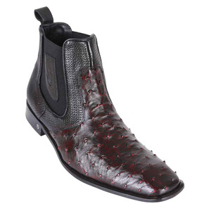 Vestigium Black Cherry Genuine Ostrich Men's Chelsea Boot