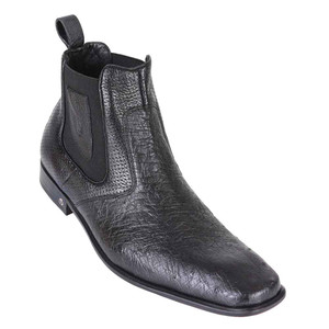 Vestigium Black Genuine Smooth Ostrich Men's Chelsea Boots