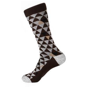 Steven Land Brown Multi Two Tones Triangles Pattern Men's Socks
