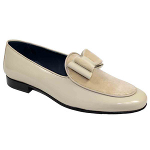 Duca Amalfi Champagne Velvet & Patent Leather Men's Slip on Bow Dress Loafers