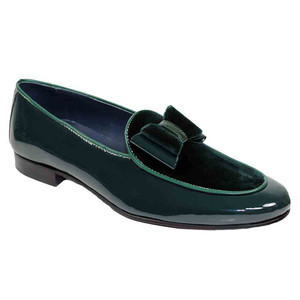 Duca Amalfi Green Velvet & Patent Leather Men's Slip on Bow Dress Loafers