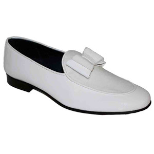 Duca Amalfi White Velvet & Patent Leather Men's Slip on Bow Dress Loafers