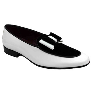 Duca Amalfi White & Black Velvet & Patent Leather Men's Slip on Bow Dress Loafers