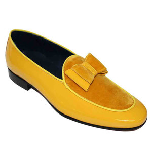 Duca Amalfi Yellow Velvet & Patent Leather Men's Slip on Bow Dress Loafers