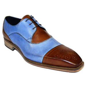 Duca Roma Brandy & Light Blue Calfskin Cap Toe Men's Oxford