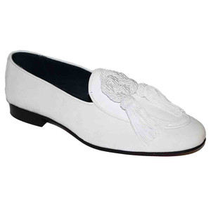 Duca Venezia White Velvet & Patent Leather Men's Slip On Loafers