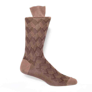 J&M Tan Stripe Pattern Men's Socks