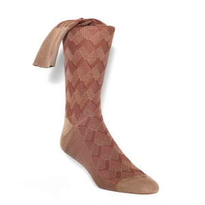 Johnston & Murphy Taupe Calf Length Men's Pattern Socks