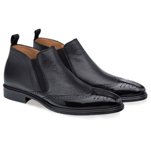 Mezlan Bexley Black Calfskin & Deerskin Men's Contemporary Wing Tip Ankle Boot