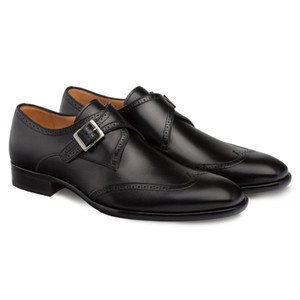Mezlan Forest Black Calfskin Leather Men's Modern Wing Tip Oxford