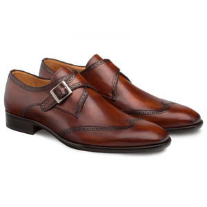 Mezlan Forest Cognac Calfskin Leather Men's Modern Wing Tip Oxford